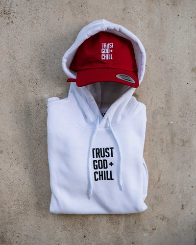 Trust God + Chill 2pc (White Hoodie + Red Dad Hat)