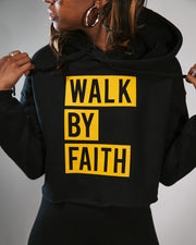 Walk By Faith Women's Cropped Fleece Hoodie