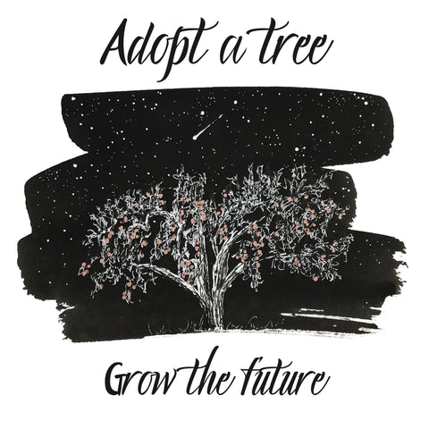 apple tree drawing that says adopt a tree, grow the future