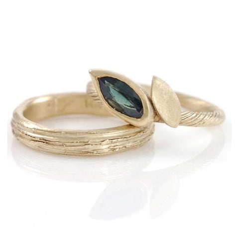 Yellow Gold Tree Bark Ring with green sapphire vine and leaf ring by Beth Cyr