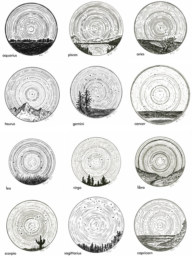 Aries - Star Trails - Zodiac Constellations - Pen and Ink Drawing Giclee Print