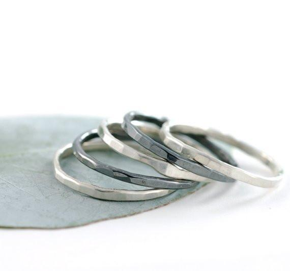 Simple Organic Skinny Stacking Rings in Argentium Sterling Silver - Made to Order - Beth Cyr Handmade Jewelry