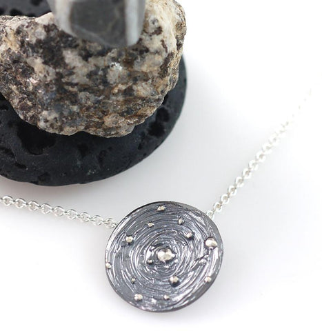 Galaxy Pendant in Sterling Silver - Ready to Ship - Beth Cyr Handmade Jewelry