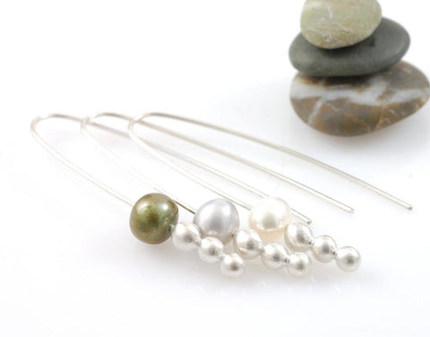 Moon Drop Earrings - Pearl and Argentium Sterling Silver - Made to Order - Beth Cyr Handmade Jewelry