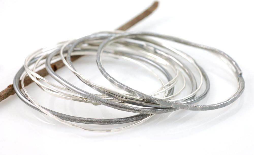 Simple Organic Bangles in Sterling Silver - Made to Order - Beth Cyr Handmade Jewelry