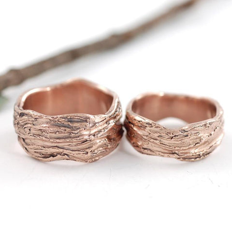 Redwoods Tree Bark Wedding Rings - Made to Order - Beth Cyr Handmade Jewelry