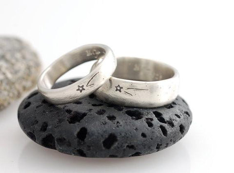 Wish Upon a Star Wedding Rings in Palladium Sterling Silver - Made to Order - Beth Cyr Handmade Jewelry