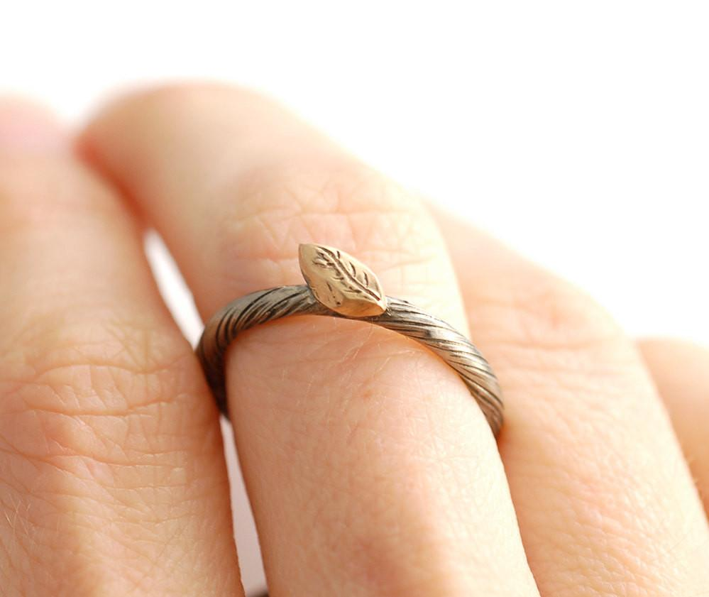 Autumn Leaf - Vine and Leaf Ring in 14k Yellow and Palladium White Gold - size 6.5 - Ready to Ship - Beth Cyr Handmade Jewelry