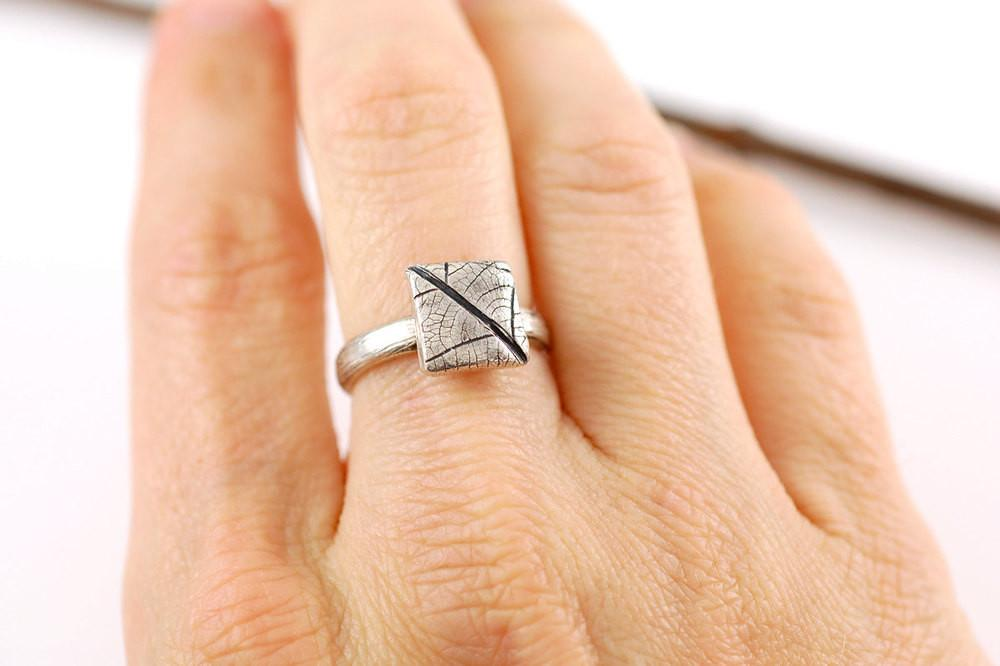 Square Leaf Imprint Ring in Palladium Sterling Silver - Made to Order - Beth Cyr Handmade Jewelry