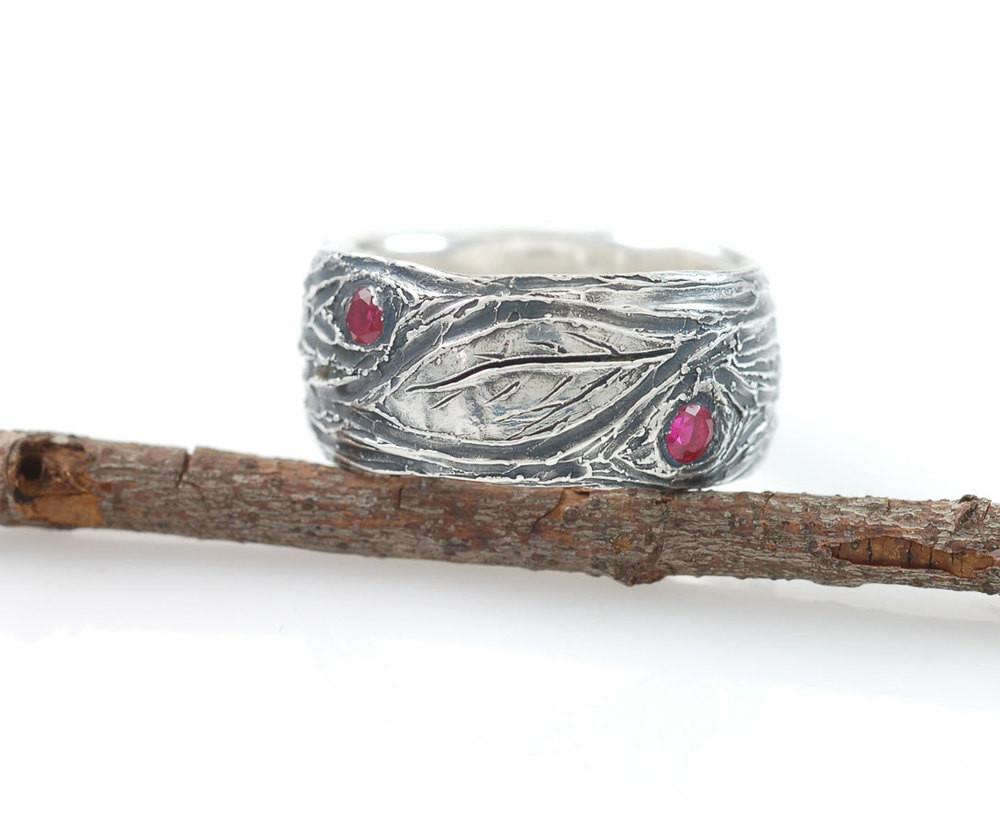 Tree Bark and Leaf Ring in Sterling Silver - size 7.5 - Ready to Ship - Beth Cyr Handmade Jewelry