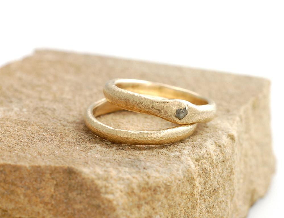 Sands of Time Ring Set with Rough Diamond in 14k Yellow Gold - size 5 - Ready to Ship - Beth Cyr Handmade Jewelry