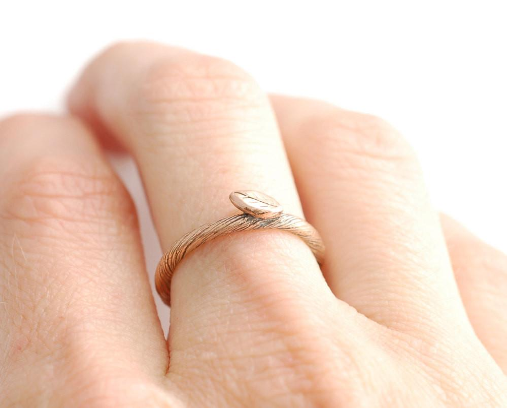 Vine and Leaf Ring in 14k Rose Gold - size 5 - Ready to Ship - Beth Cyr Handmade Jewelry