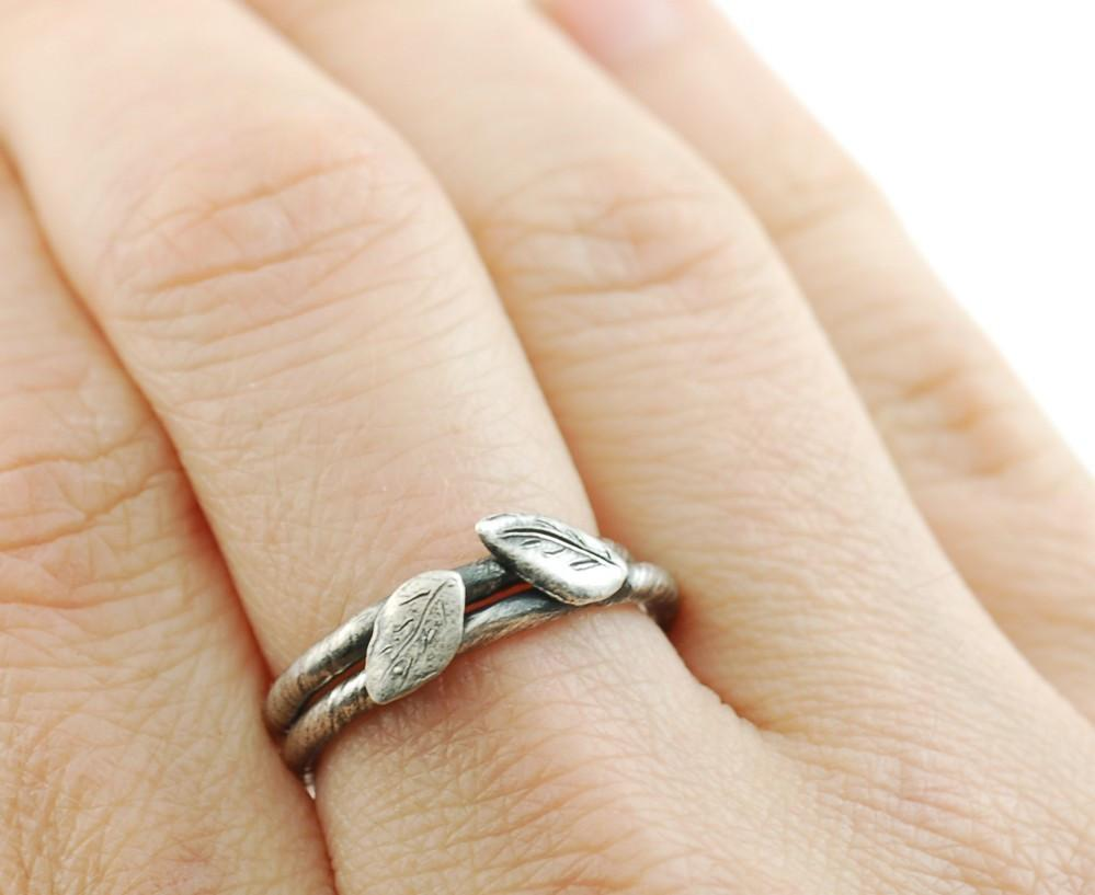 Vine and Leaf Engagement Ring or Wedding Band in Palladium Sterling Silver - Made to Order - Beth Cyr Handmade Jewelry