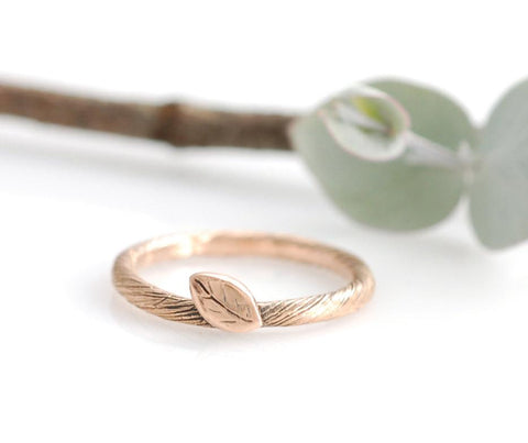 Vine and Leaf Engagement Ring or Wedding Band in 14k Rose Gold - Made to Order - Beth Cyr Handmade Jewelry