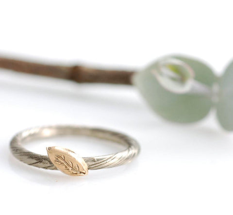 Vine and Autumn Leaf Engagement Ring or Wedding Band -  Mixed Metal Ring - Made to Order - Beth Cyr Handmade Jewelry