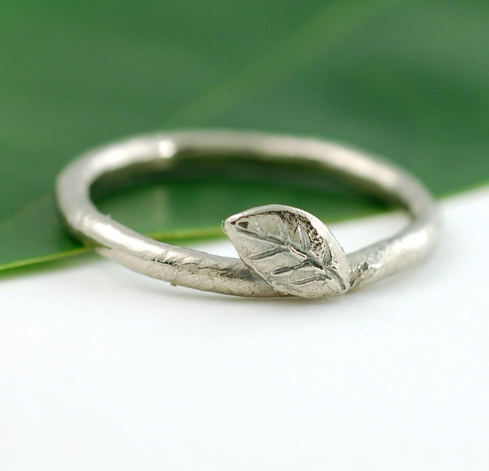 Vine and Leaf Engagement Ring or Wedding Band in 14k Palladium White Gold - Made to Order - Beth Cyr Handmade Jewelry