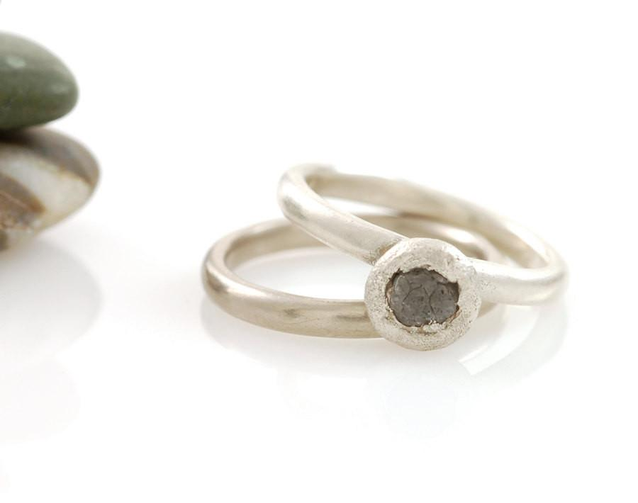 Mixed Metal Simplicity Ring Set - Palladium/Silver and Palladium Sterling Silver with Gray Rough Diamond - size 3 3/4 - Ready to Ship - Beth Cyr Handmade Jewelry