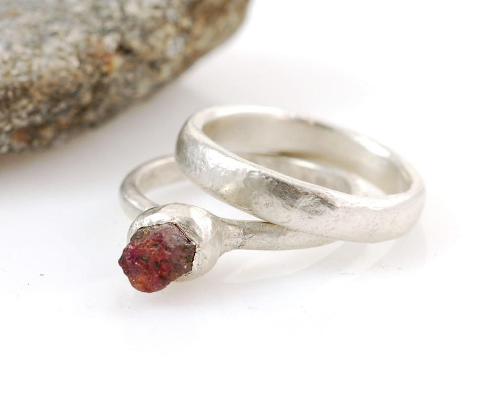 Rough Ruby in Palladium Sterling Silver Engagement Ring and Wedding Band Set  - size 6 - Ready to Ship - Beth Cyr Handmade Jewelry