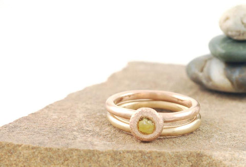 Mixed Metal Simplicity Ring Set - 14k Peach Gold and 14k Yellow Gold with Yellow Rough Diamond - size 5 1/2 - Ready to Ship - Beth Cyr Handmade Jewelry