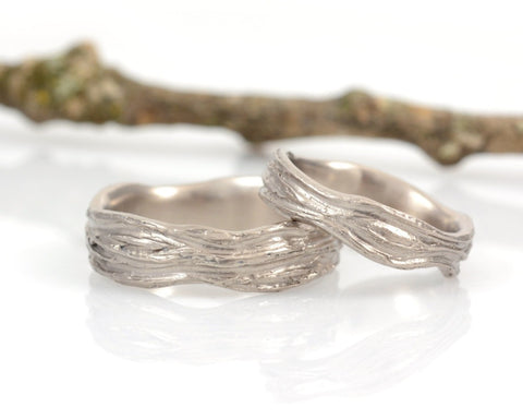 Redwoods Tree Bark Wedding Rings in Palladium White Gold - Made to Order - Beth Cyr Handmade Jewelry