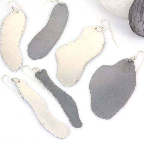 Darkness and Light Amoeba Earrings in Sterling Silver - Ready to ship - Beth Cyr Handmade Jewelry