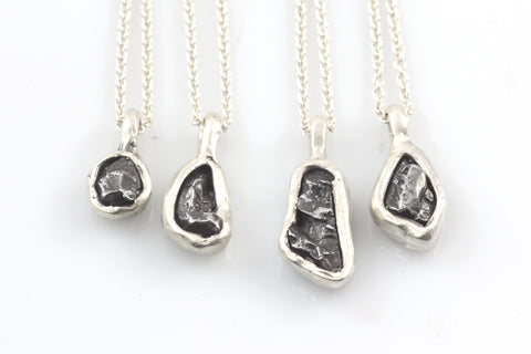 Meteorite Pendants in Sterling Silver - Ready to Ship - Beth Cyr Handmade Jewelry