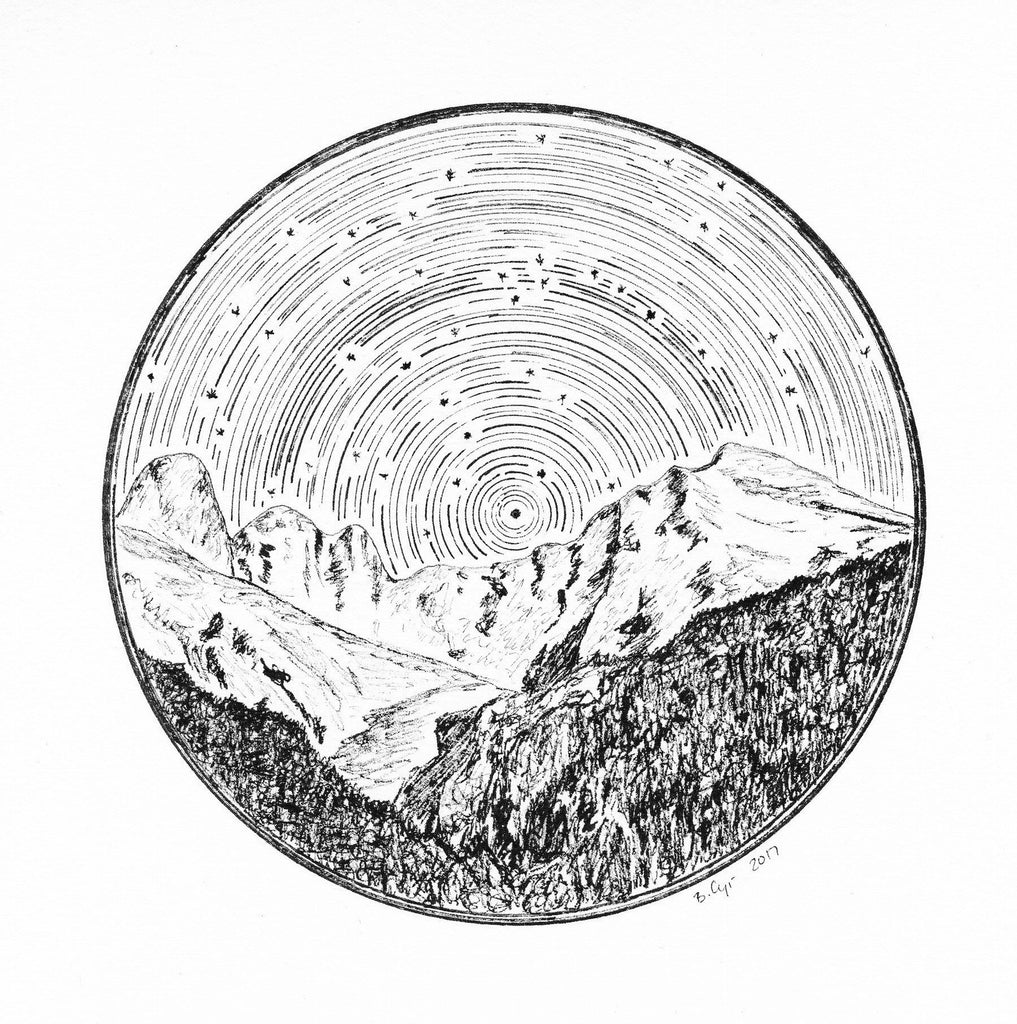 Star trails - Little Dipper and Big Dipper over Mount Olympus - Pen and Ink Drawing Print - Beth Cyr Handmade Jewelry