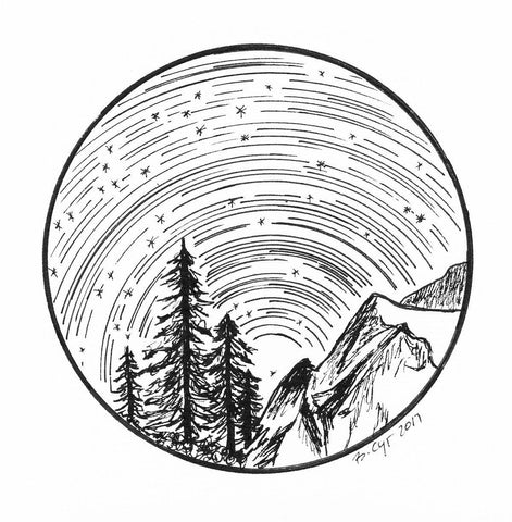Star trails - Aquarius over the Cascades - Pen and Ink Drawing Print - Beth Cyr Handmade Jewelry