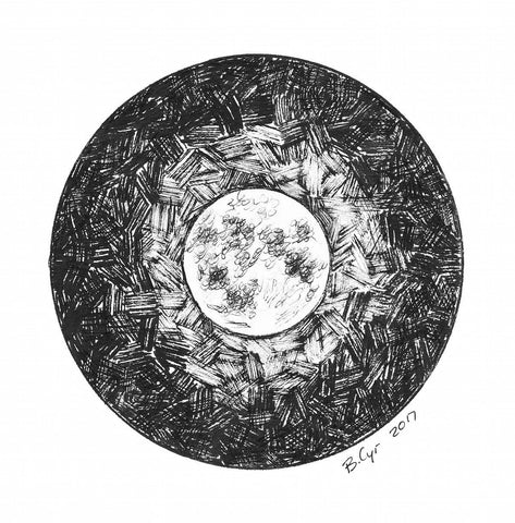 Dark Sky - {not so dark with a} Full Moon - Original Drawing