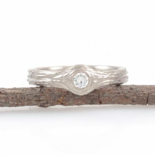 Tree Bark Love Knot Engagement Rings, 3mm wide in Palladium White Gold - Made to Order