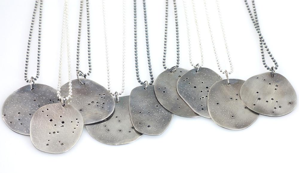 Virgo Constellation Pendant in Sterling Silver - Ready to Ship - Beth Cyr Handmade Jewelry