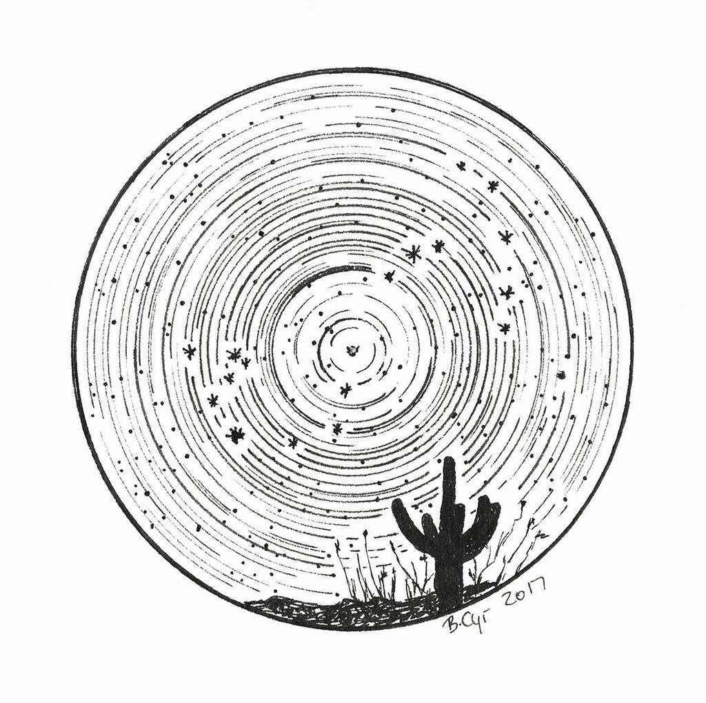 Star trails - Zodiac Constellations - Pen and Ink Drawing Prints - Beth Cyr Handmade Jewelry