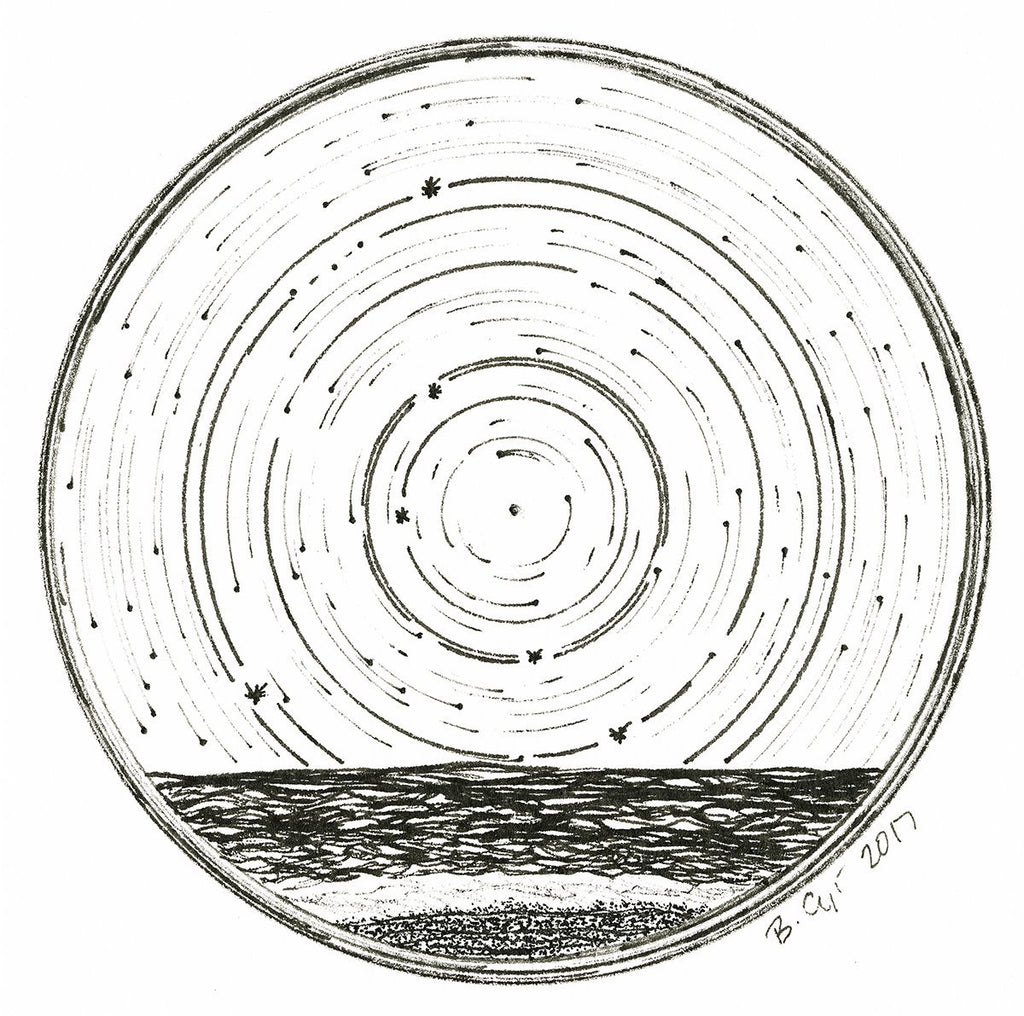 Cancer - Star Trails - Zodiac Constellations - Pen and Ink Drawing Giclee Print - Beth Cyr Handmade Jewelry