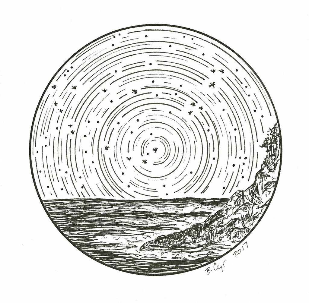 Capricorn - Star Trails - Zodiac Constellations - Pen and Ink Drawing Giclee Print