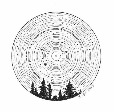 virgo constellation drawing over tree silhouette