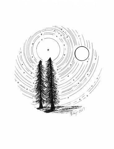 Star trails - Tree Buddies with Full Moon - Pen and Ink Drawing Print - Beth Cyr Handmade Jewelry