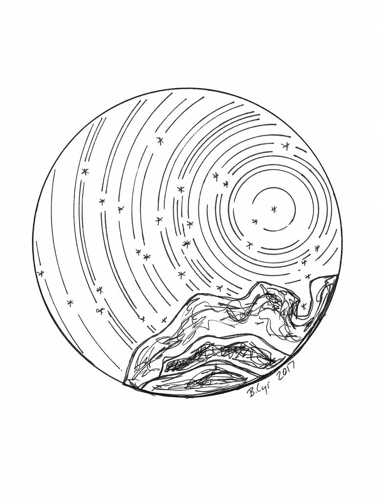 Star trails - Capricorn over the Mountains - Pen and Ink Drawing Print - Beth Cyr Handmade Jewelry