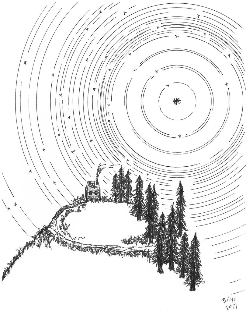Star trails - Washington Mountain Home - Pen and Ink Drawing Print - Beth Cyr Handmade Jewelry