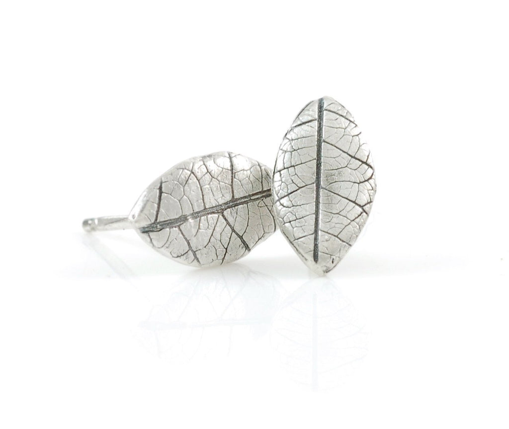 Leaf Imprint Post Earrings in Sterling Silver - Ready to Ship - Beth Cyr Handmade Jewelry