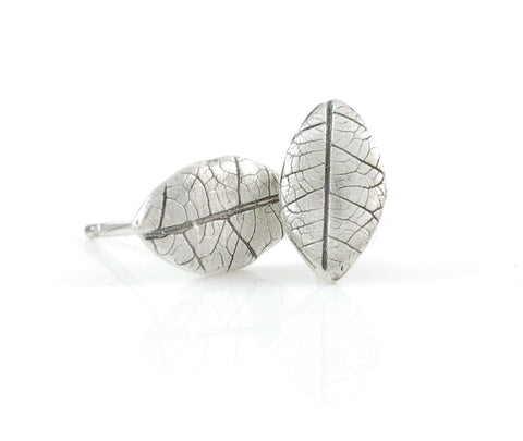 Leaf Imprint Post Earrings in Sterling Silver - Made to Order - Beth Cyr Handmade Jewelry