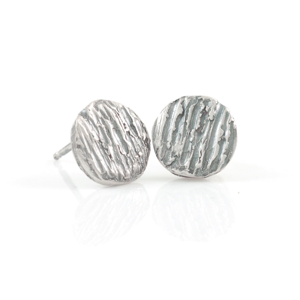 Tree Bark Post Earrings in Sterling Silver - Made to Order