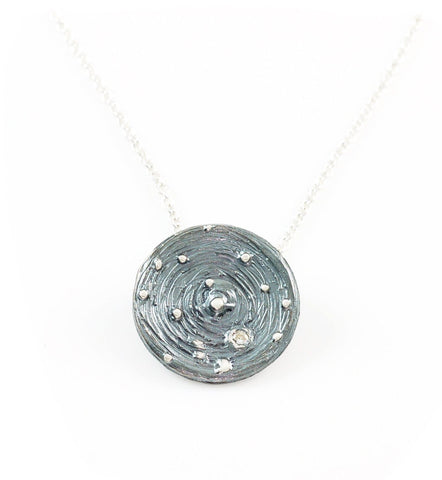 Galaxy Pendant in Sterling Silver with Moissanite in Orbit - Made to Order - Beth Cyr Handmade Jewelry