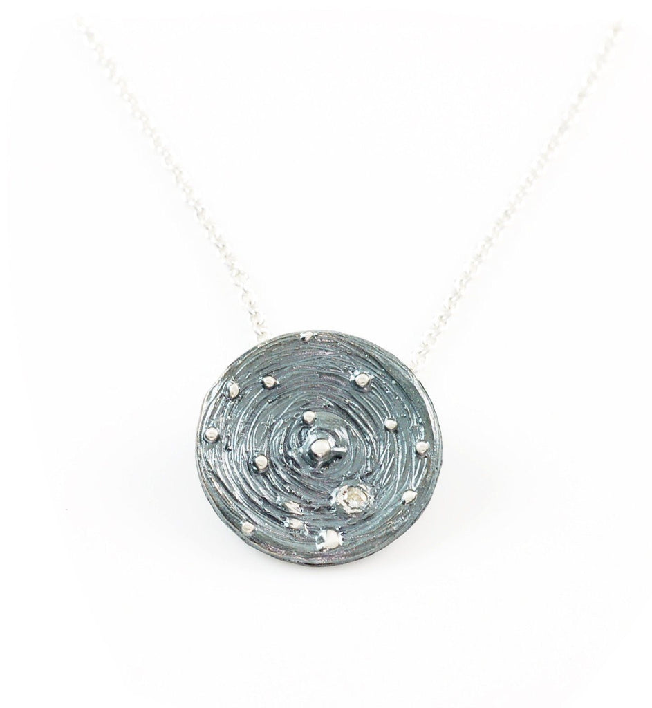 Galaxy Pendant in Sterling Silver with Moissanite in Orbit - Ready to Ship - Beth Cyr Handmade Jewelry