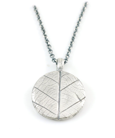 Leaf Imprint Pendant in Sterling Silver - Made to Order - Beth Cyr Handmade Jewelry