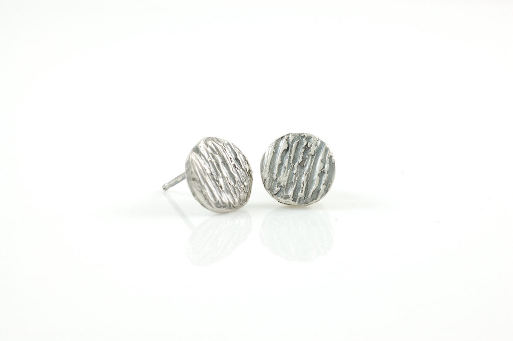 Tree Bark Post Earrings in Sterling Silver - Made to Order - Beth Cyr Handmade Jewelry
