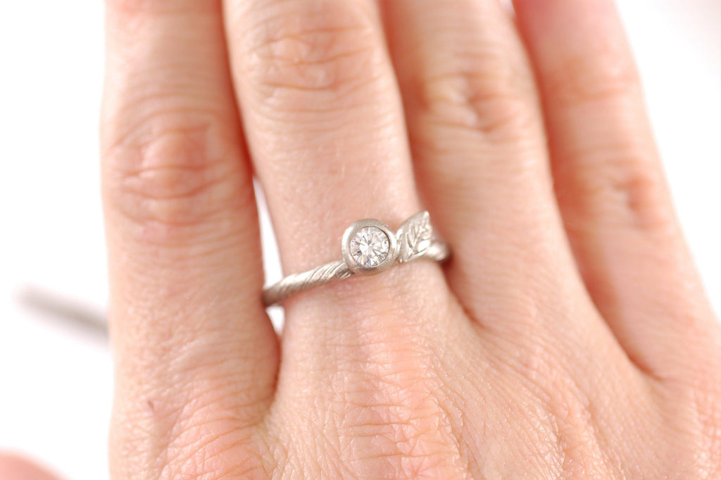 Custom Vine and Leaf Engagement Ring with 2.5mm Moissanite in 14k Palladium White Gold - Made to Order - Beth Cyr Handmade Jewelry