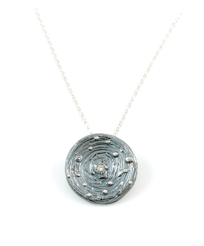 Galaxy Pendant in Sterling Silver with Center Moissanite - Made to Order - Beth Cyr Handmade Jewelry