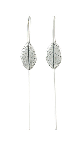 Leaf Imprint Earrings in Sterling Silver - Ready to Ship - Beth Cyr Handmade Jewelry