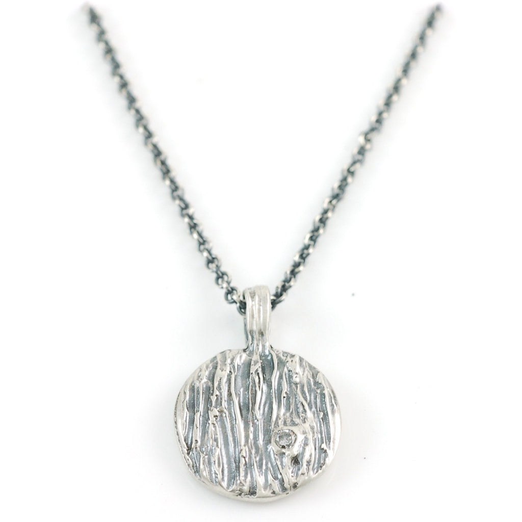 Tree Bark Pendant with Moissanite Knot in Sterling Silver - Made to Order - Beth Cyr Handmade Jewelry