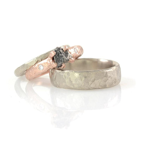 Custom Order - Single Meteorite Ring in 14k Rose Gold with prong setting and 2 diamonds with two palladium/silver wedding bands - Beth Cyr Handmade Jewelry
